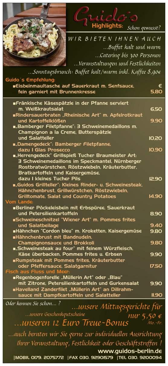 Unsere Speisekarte Guido´s Restaurant Berlin Rückseite